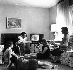 Family watching TV 1958