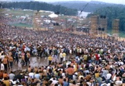 Woodstock crowd and stage, 1969