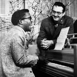 Sammy Davis, Jr. and Steve Allen rehearsing for the premiere of The Steve Allen Show, 1956